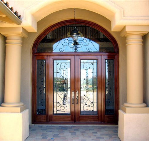 Wood doors with iron 04 door designs for Front door with 6 windows