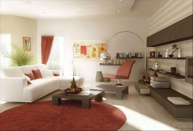 Beautiful red and white color scheme for your living room design