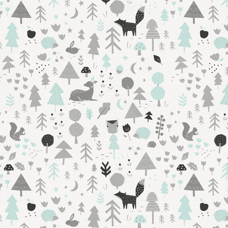 Silver Gray Baby Woodland Fabric