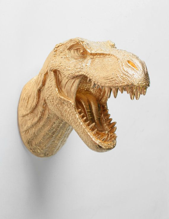 T Rex Head Dinosaur Wall Mount in Gold, The Wilbur Resin T ...
