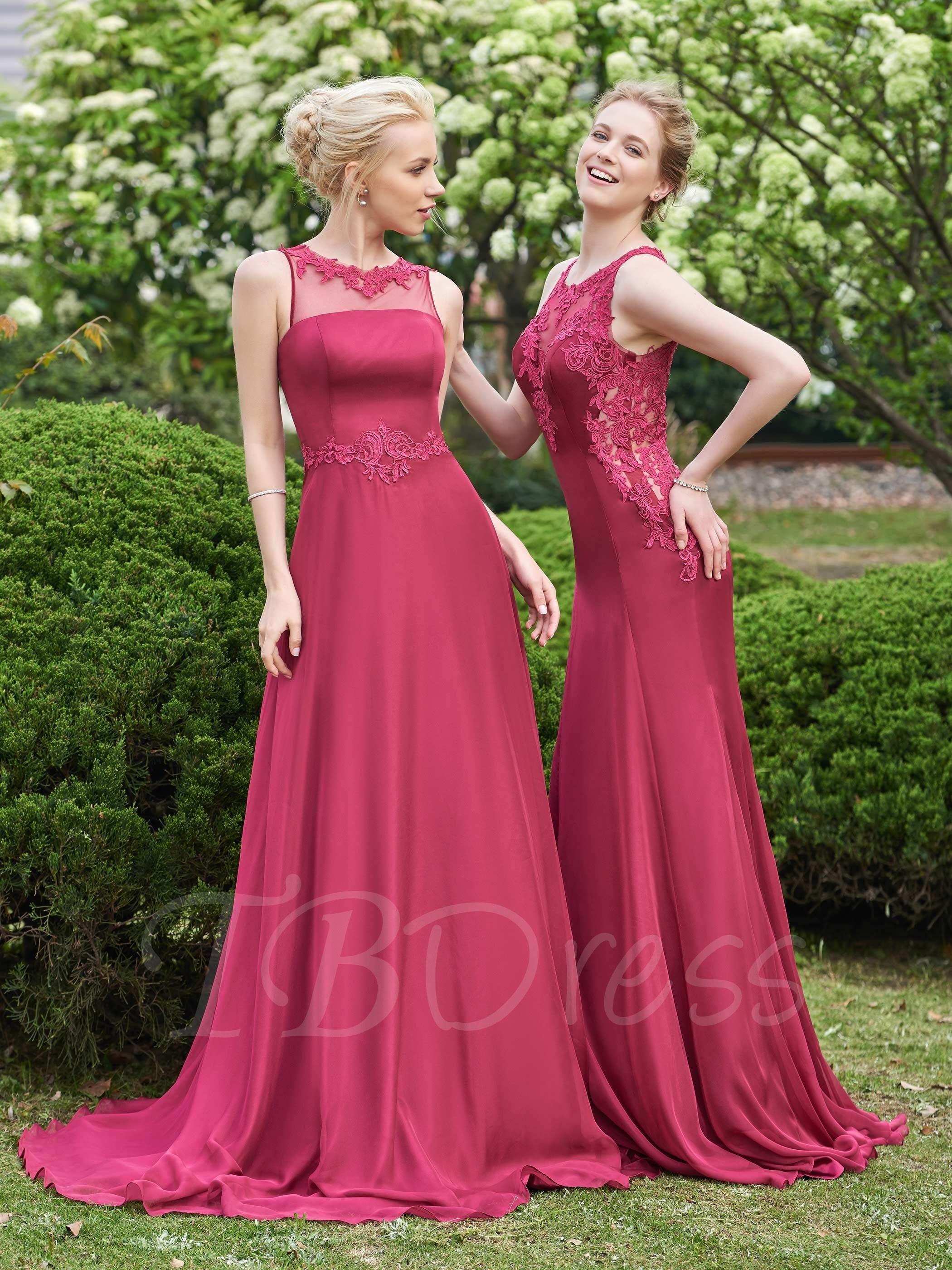 Scoop Neck Appliques Zipper-Up Sweep Train A-Line Bridesmaid Dress ...