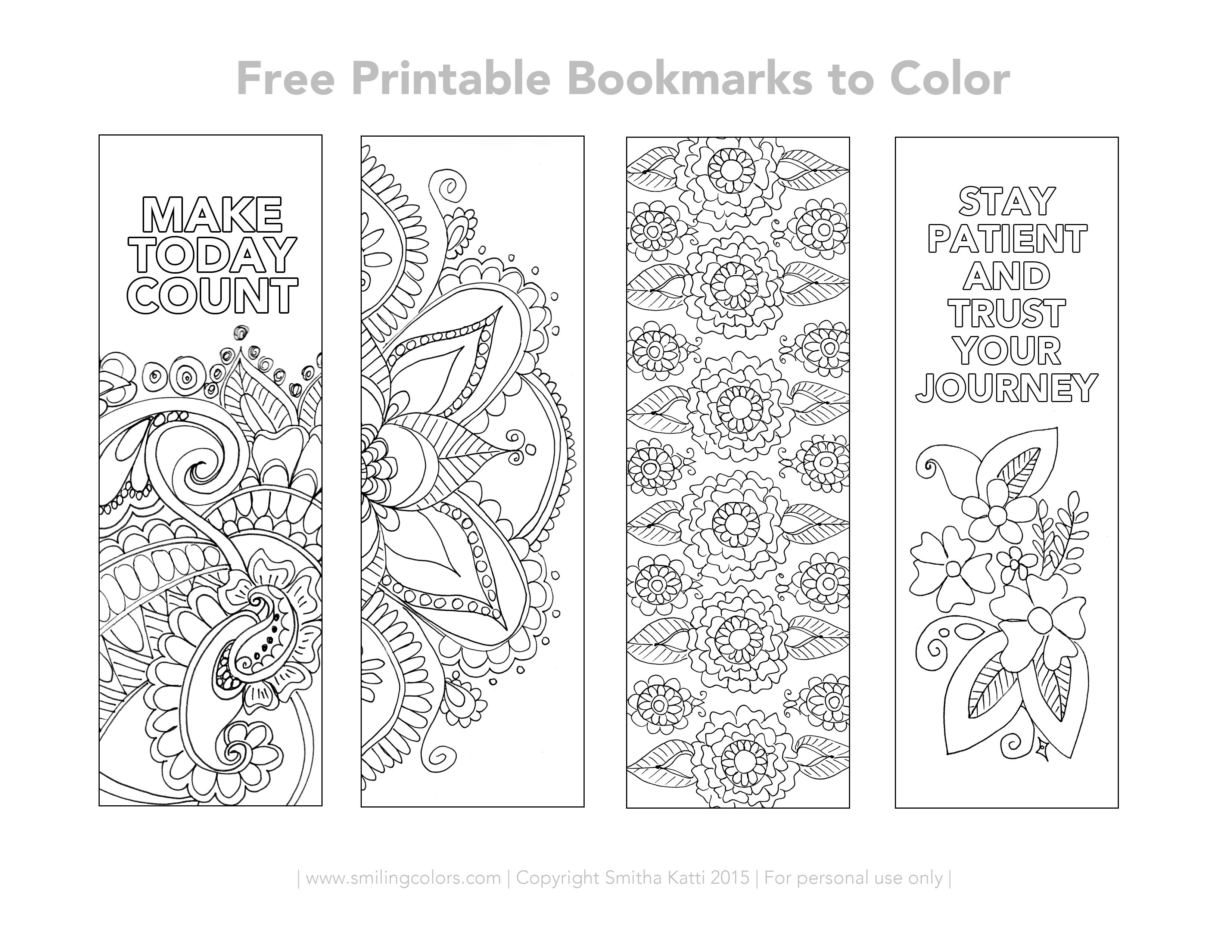 Free Printable Bookmarks To Color Free Printable Bookmarks