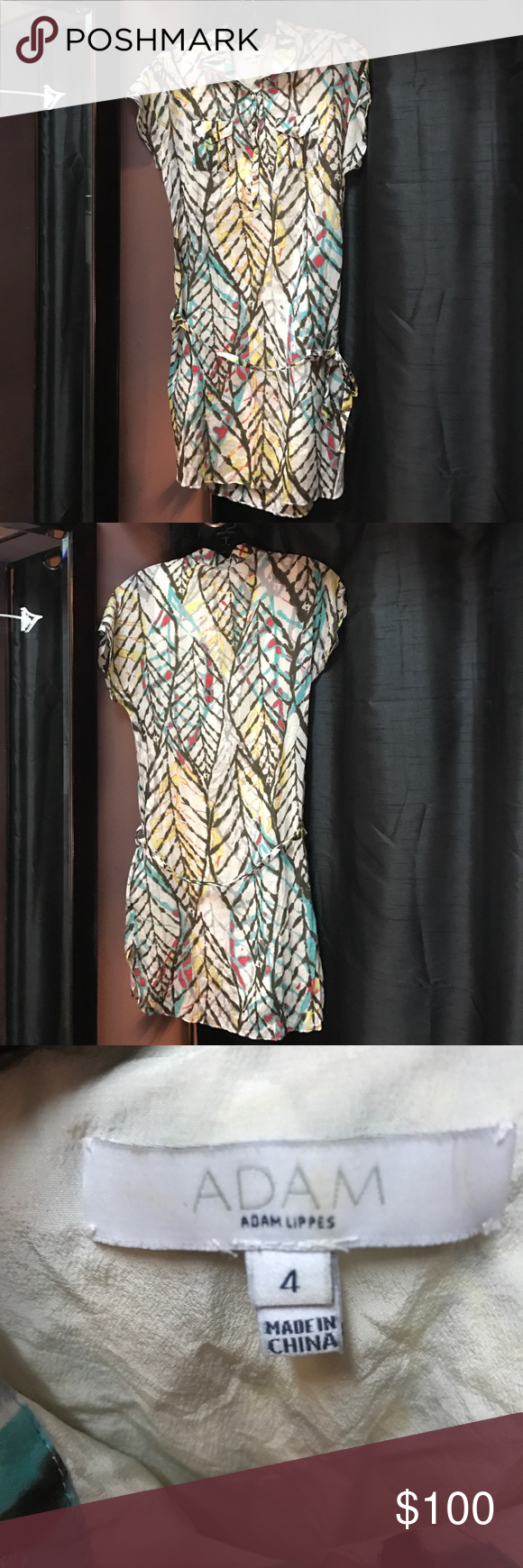 Adam Adam Lippes cotton/silk shirt dress w/sash Adam Adam Lippes cotton/silk blend, multi colored, short sleeved, shirt dress w/sash tie. Fully lined 100% silk lining. Cute cap sleeves, collar, and two front pockets. Kind of a leaf pattern. EUC. No flaws Adam by Adam Lippes Dresses