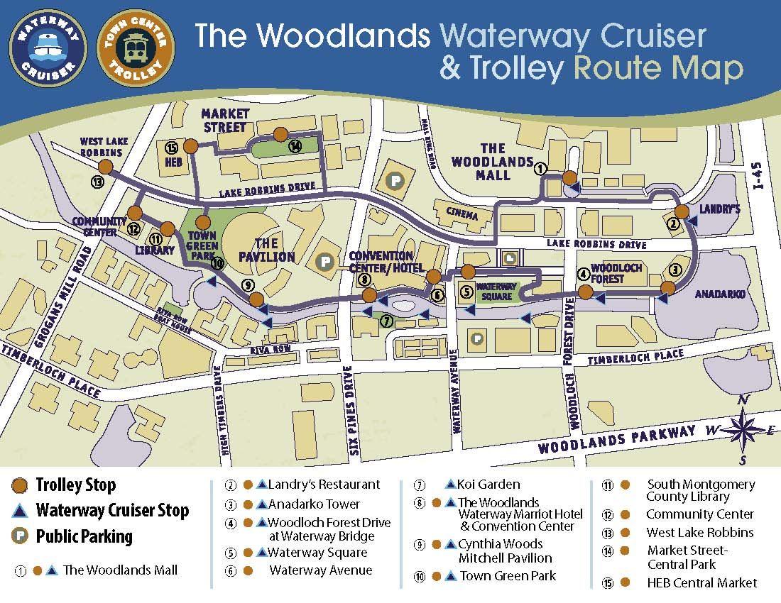 Aqu hay un mapa del Waterway Cruiser y el Trolley en The