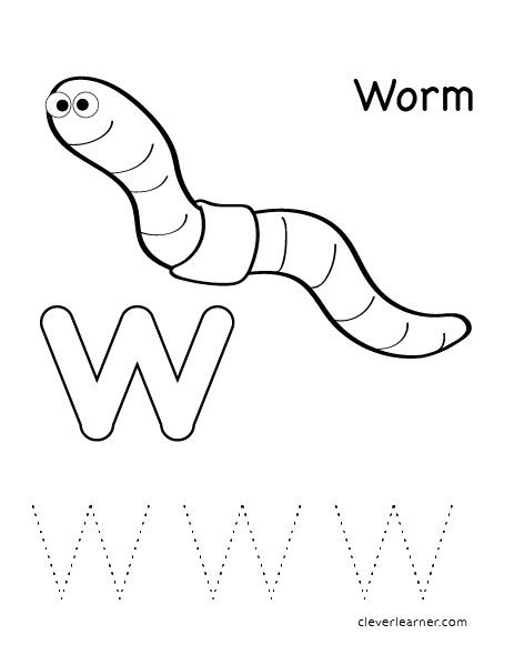 W is for worm letter worksheets