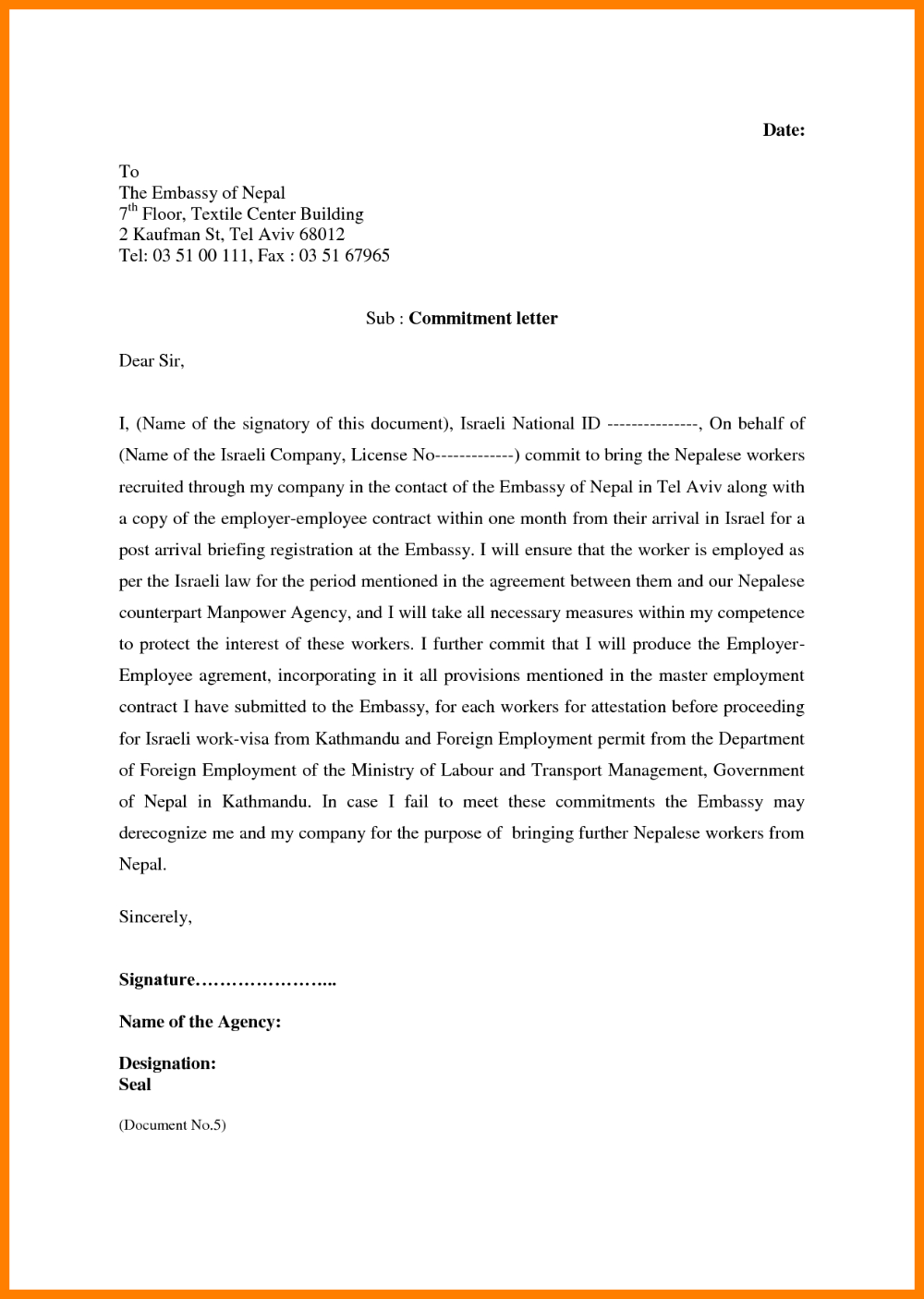 Example Of A Commitment Letter Ismbauer For Letter Of Commitment Template In 2020 Lettering Templates Professional Templates
