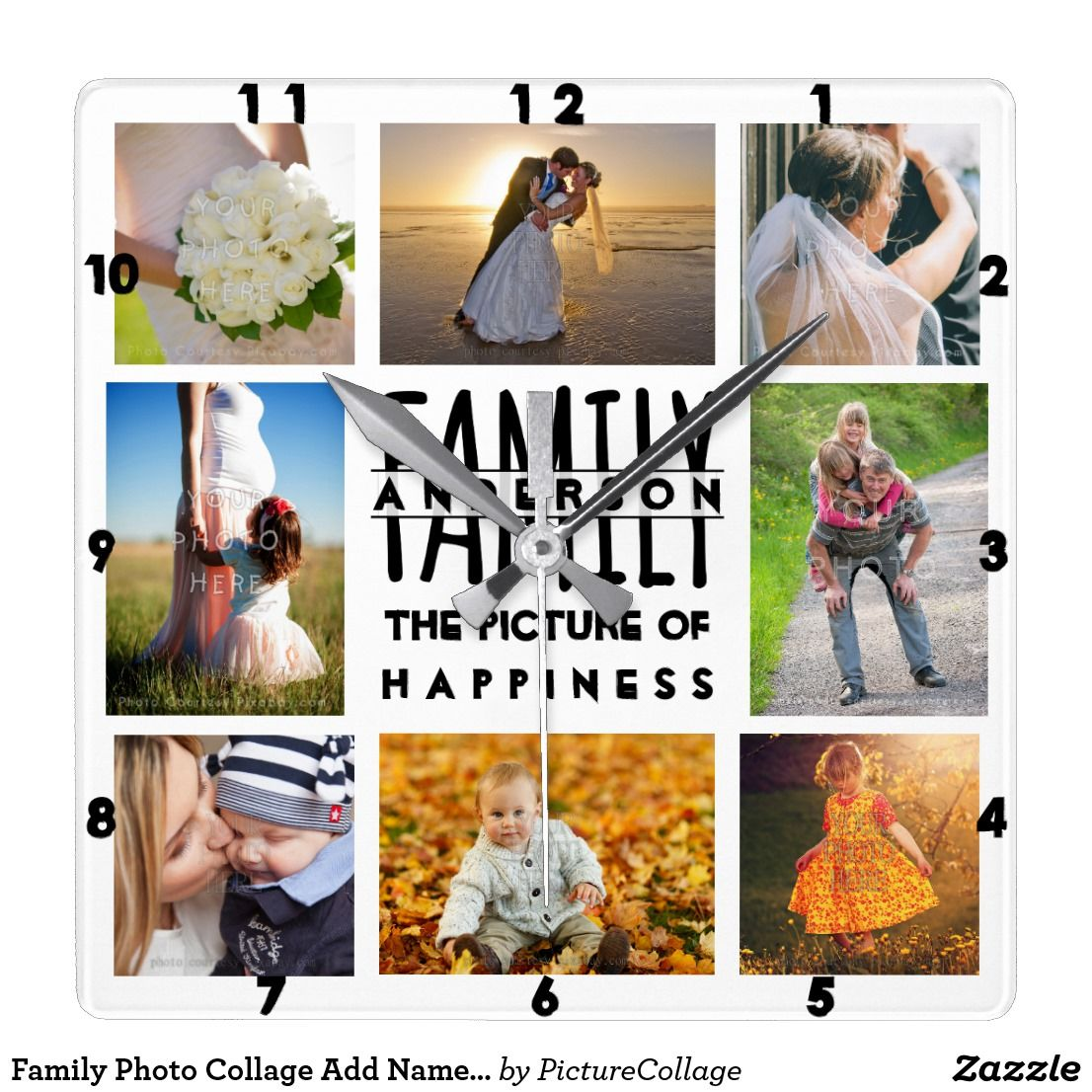 Family Photo Collage Add Name Template | 8 Picture Square Wall Clock ...