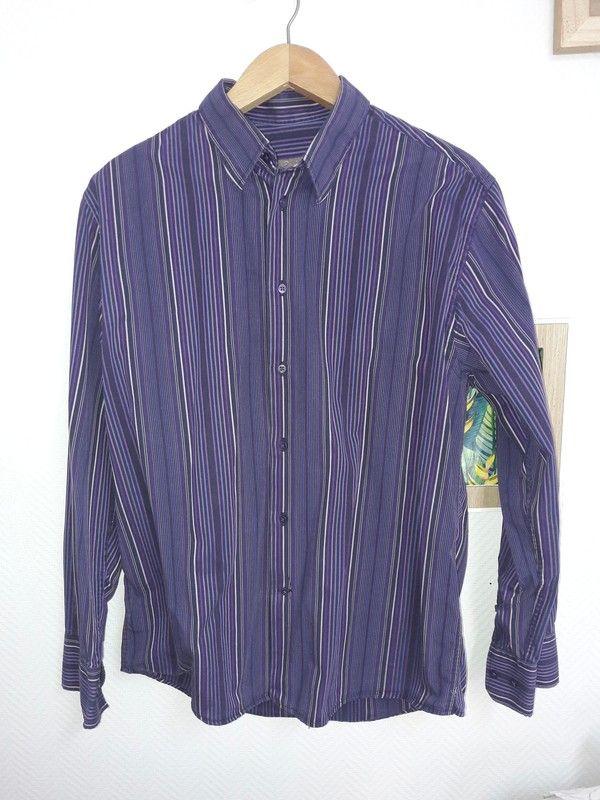 c36e76a035c8b Chemise homme à rayures Taille : 4 Couleurs : plusieurs tons de violet  Coupe ajustée De