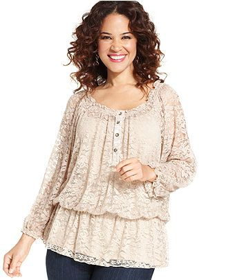 NY Collection Plus Size Top, Three-Quarter-Sleeve Lace Peasant - Plus Size Tops - Plus Sizes - Macy's