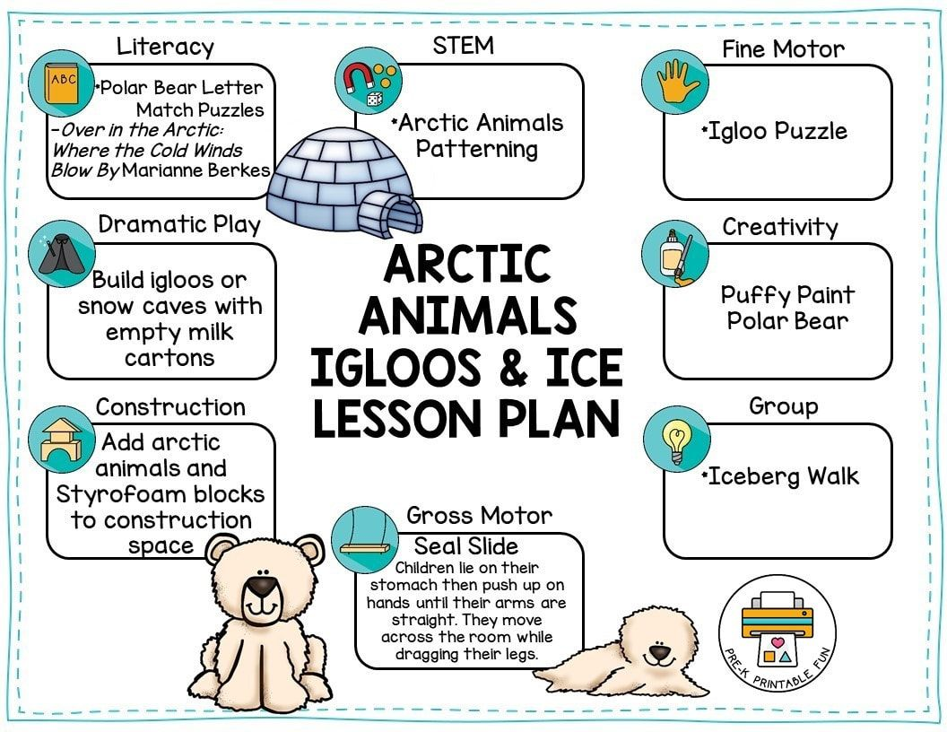 Arctic Animals Igloos And Ice Preschool Activities Free