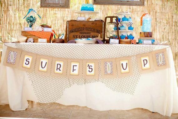Burlap SURFS UP Banner Rustic Beach Party Decoration Surfboards And Chevron Boy Girl Gender Neutral Birthday Bar Mitzvah