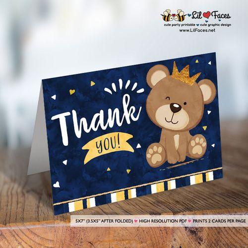 Little Bear Baby Shower invitation Navy Blue and gold prince Bear Invitation DIY printable couples crown prince Bear baby shower invite