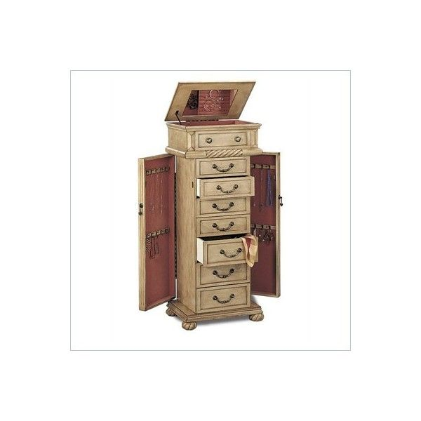 Coaster Victorian Seven Drawer Jewelry Armoire in Antique White - 5557 ($379) ❤ liked on Polyvore featuring furniture
