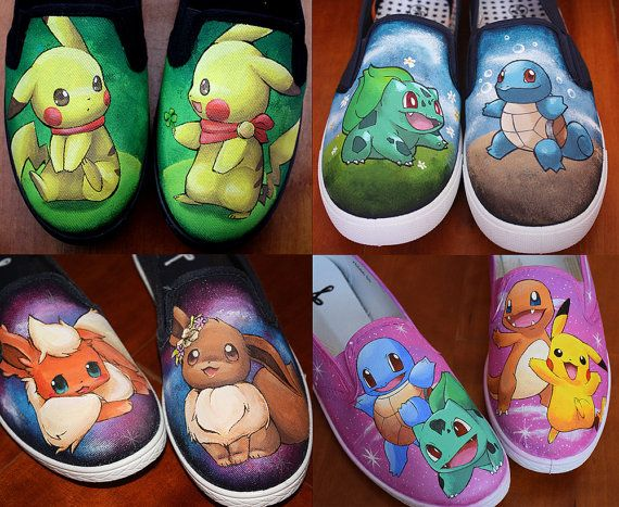 CUSTOM hand painted Pokemon shoes by elefantesgalopantes on Etsy