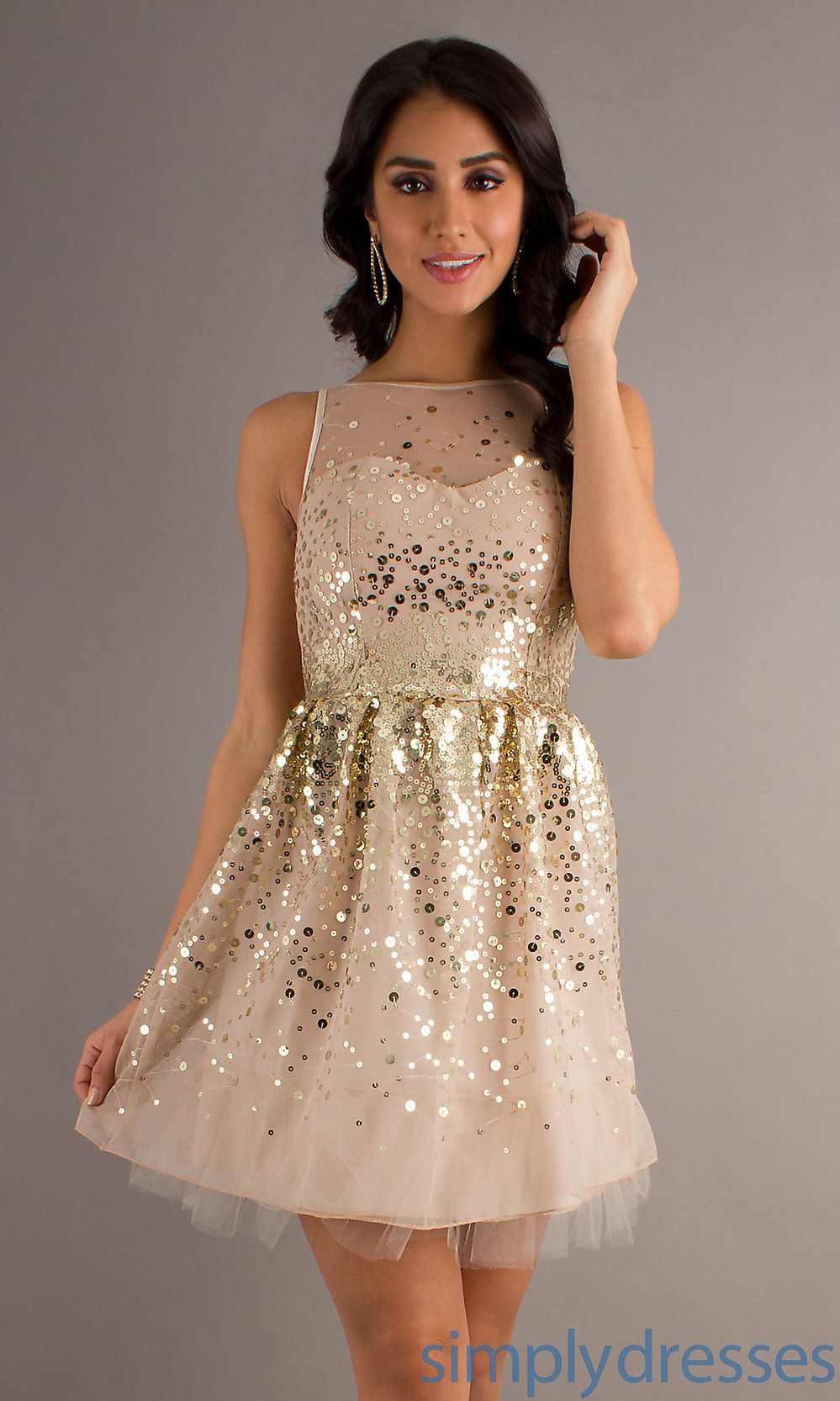 Sequin Short Sleeveless Dress, Junior Short Dress- Simply Dresses ...