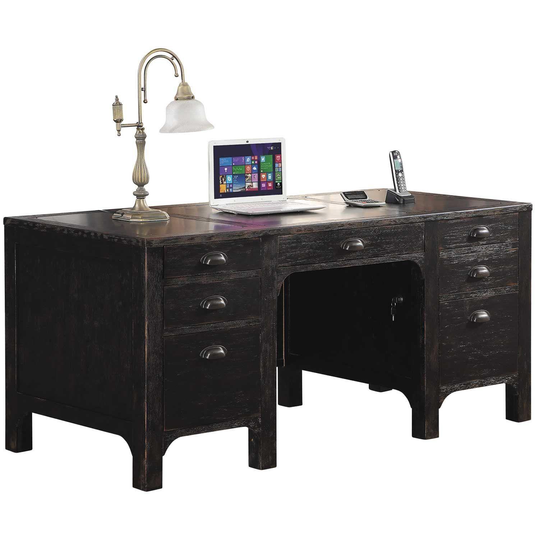 Homestead Executive Desk Desk, Adjustable shelving