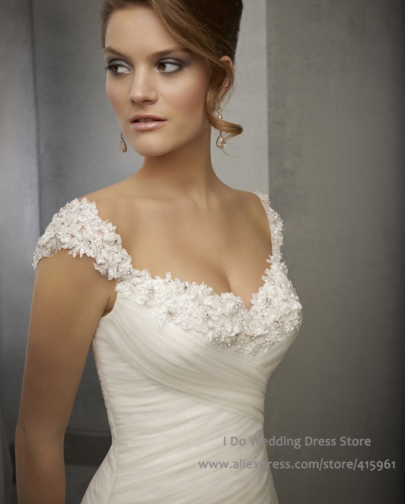 Lace cap sleeve a line wedding dress  BestSellALineCapSleeveBeadedLaceBridalDressWedding