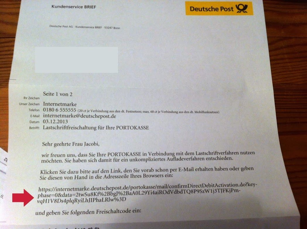 Portokasse... Brief deutsch, Deutsche post, Brief