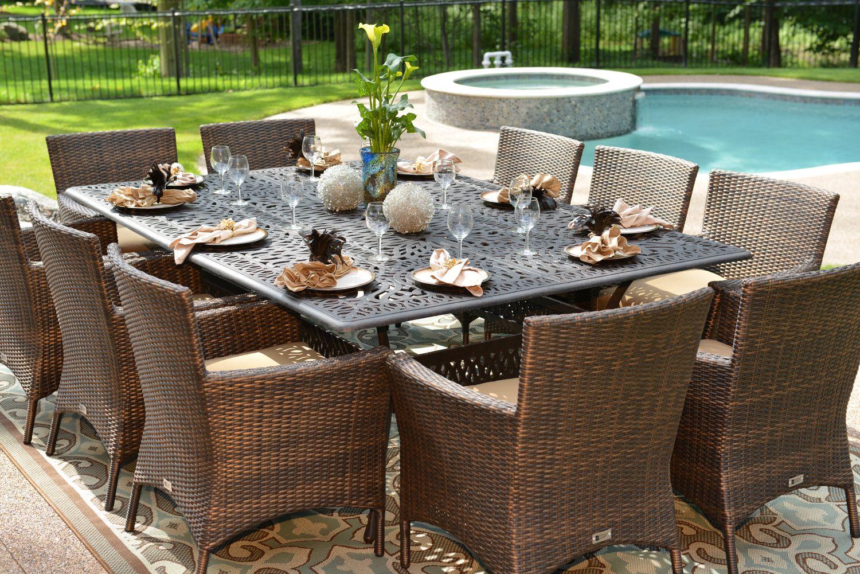 Lantana 10 Person Wicker Cast Aluminum Dining Set Luxury Patio