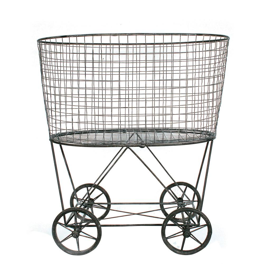 3r Studios Vintage Metal Basket With Wheels Grey Metal Laundry