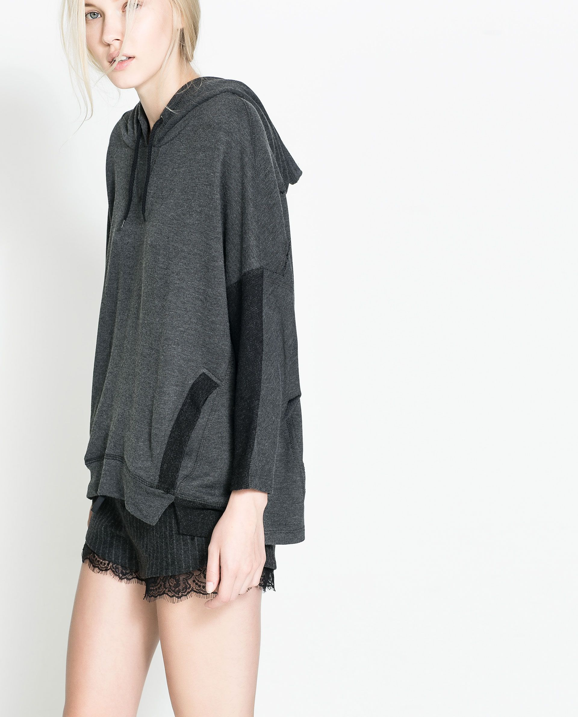 ZARA - TRF - HOODED VELOUR CAPE WITH POCKETS