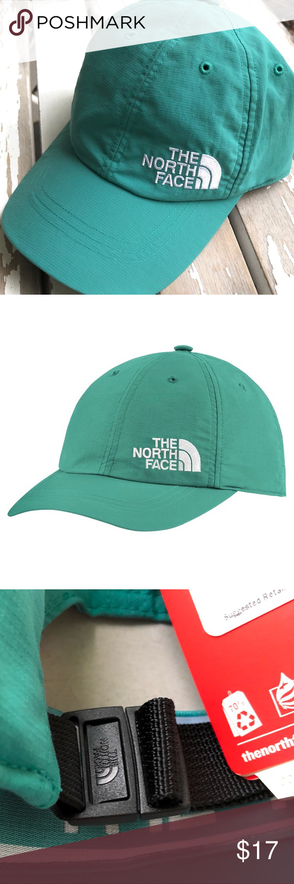 d6eb5857c NWT - NORTH FACE Horizon Ball Cap Hat Authentic THE NORTH FACE Women's  Horizon Ball Cap • Color: Porcelain Green / TNF White • Adjustable clip  closure with ...