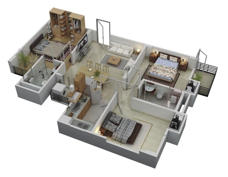 50 Three 3 Bedroom ApartmentHouse Plans Floor layout