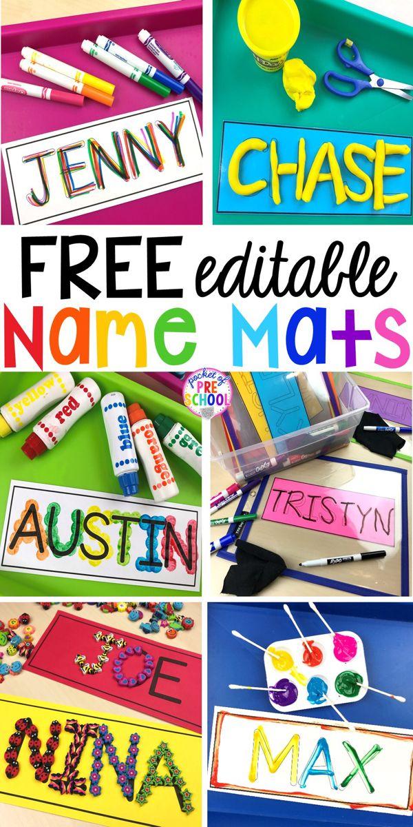 FREE Editable Name Mats - Pocket of Preschool