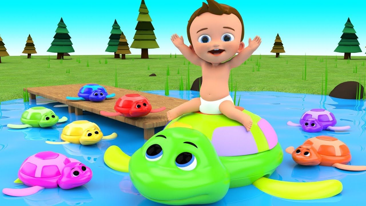 Learn Colors for Children with Baby Play Swimming Turtle Toys in ...