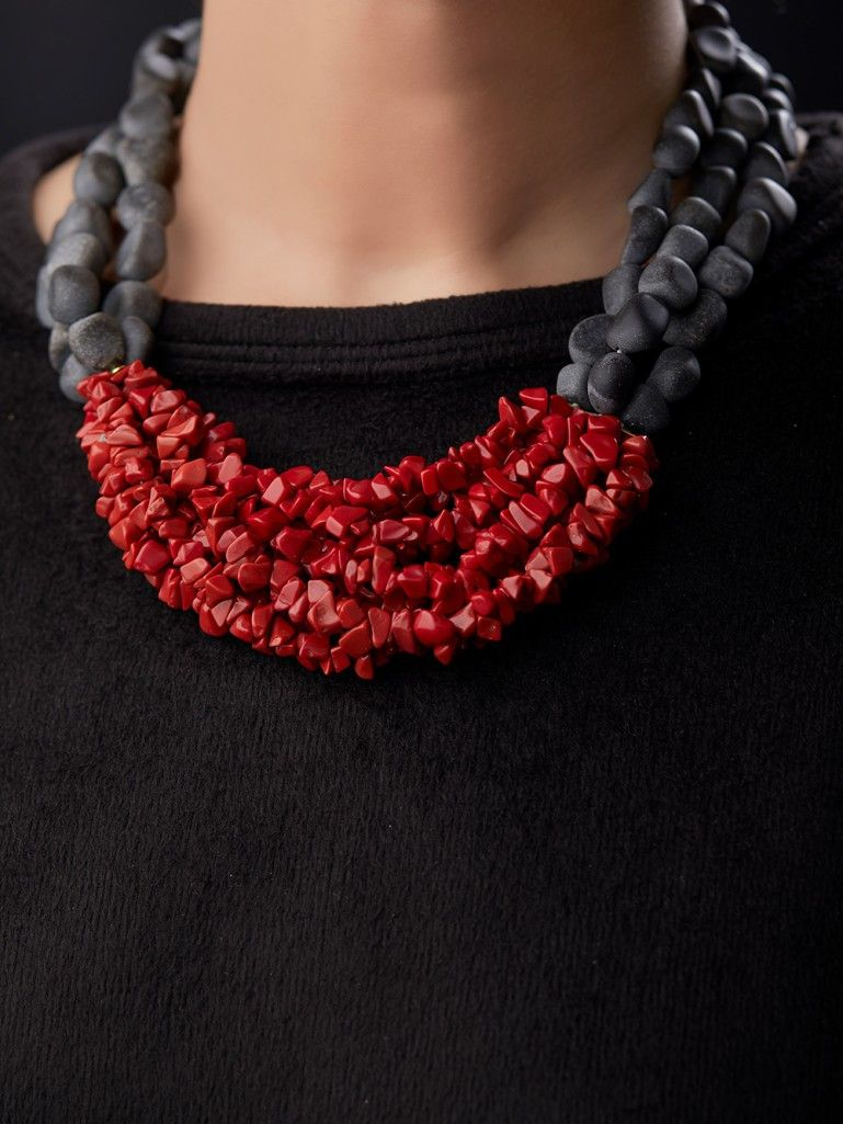 Photo of Red Black Semi Precious Stones Handcrafted Necklace