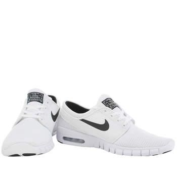 mens nike sb white & black stefan janoski max trainers