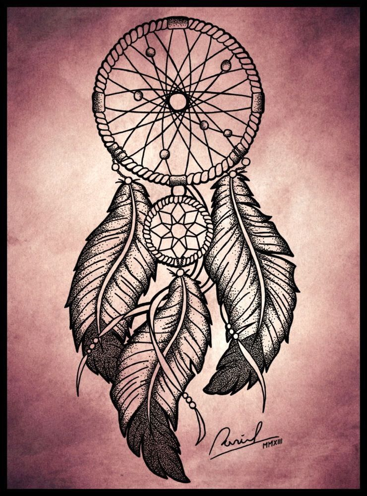 Dreamcatcher amazing draw (With images) | Feather tattoos ...