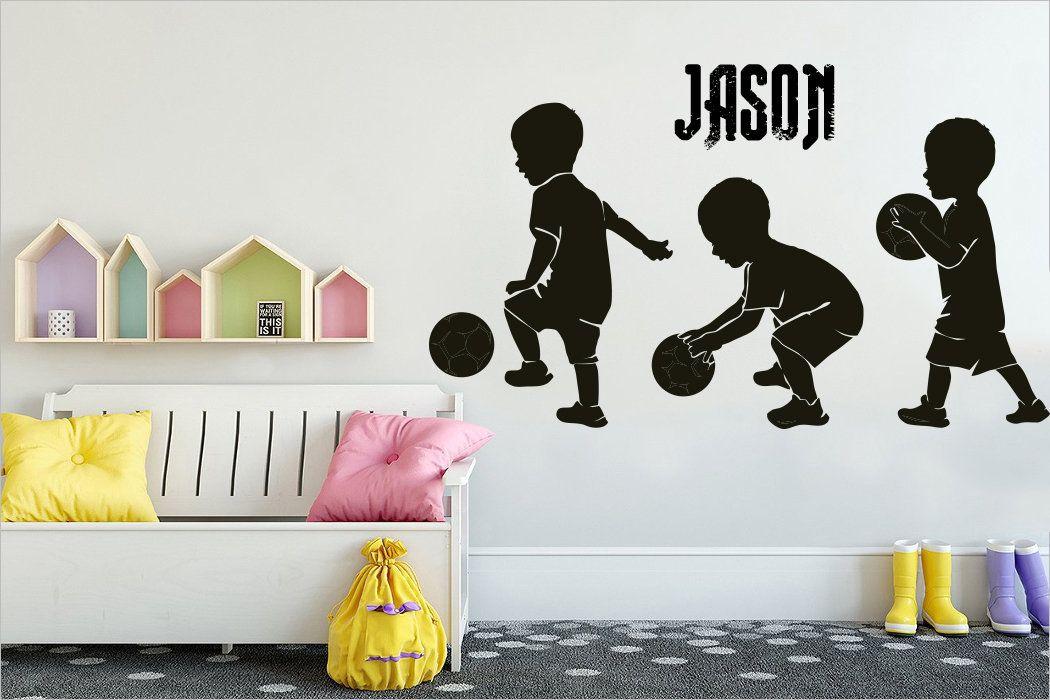 Football Wall Sticker Custom Name Bedroom Living Room Decal Vinyl Art Mural Kids