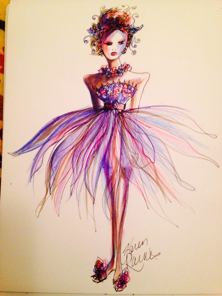 Flower princess | Karen Raines short dress sketches | Pinterest