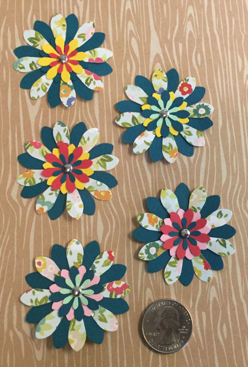 Handmade 2 Paper Flowers With 1 Flower Centers 5 Count Pack By