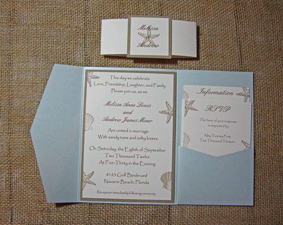 Blue Pocketfold Beach Wedding Invitations - Aqua Beach Wedding