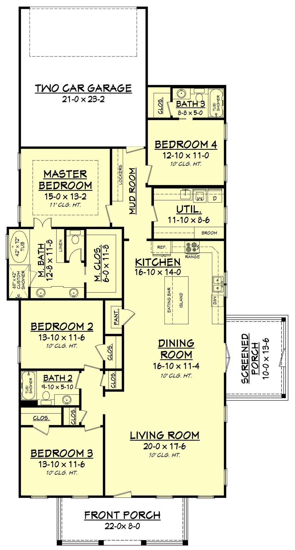 Craftsman Style House Plan 4 Beds 3 Baths 2219 Sq Ft Plan 430 174 In 2020 Narrow Lot House Plans Narrow House Plans Craftsman Style House Plans
