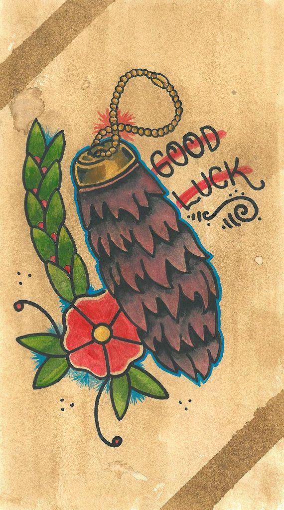Lucky Rabbit Foot Tattoo Flash Print by TryworkTradingCo