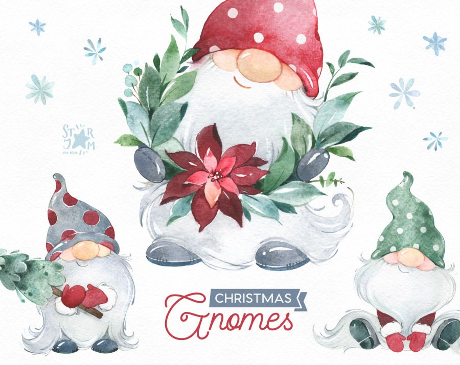 Christmas Gnomes Watercolor Clipart Nordic Scandinavian Magical