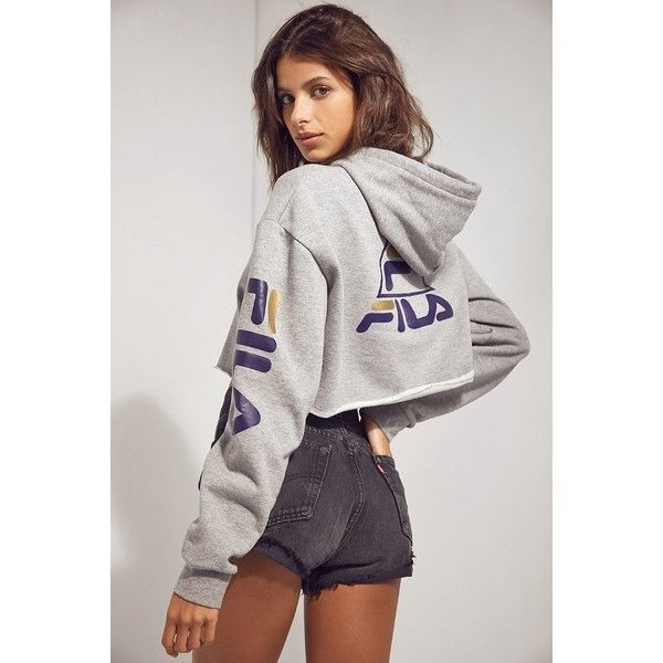 FILA + UO Basketball Cropped Hoodie Sweatshirt (1,225 MXN) ❤ liked on Polyvore featuring tops, hoodies, long sleeve hoodies, fila top, long sleeve tops, hooded sweatshirt and long sleeve hooded sweatshirt