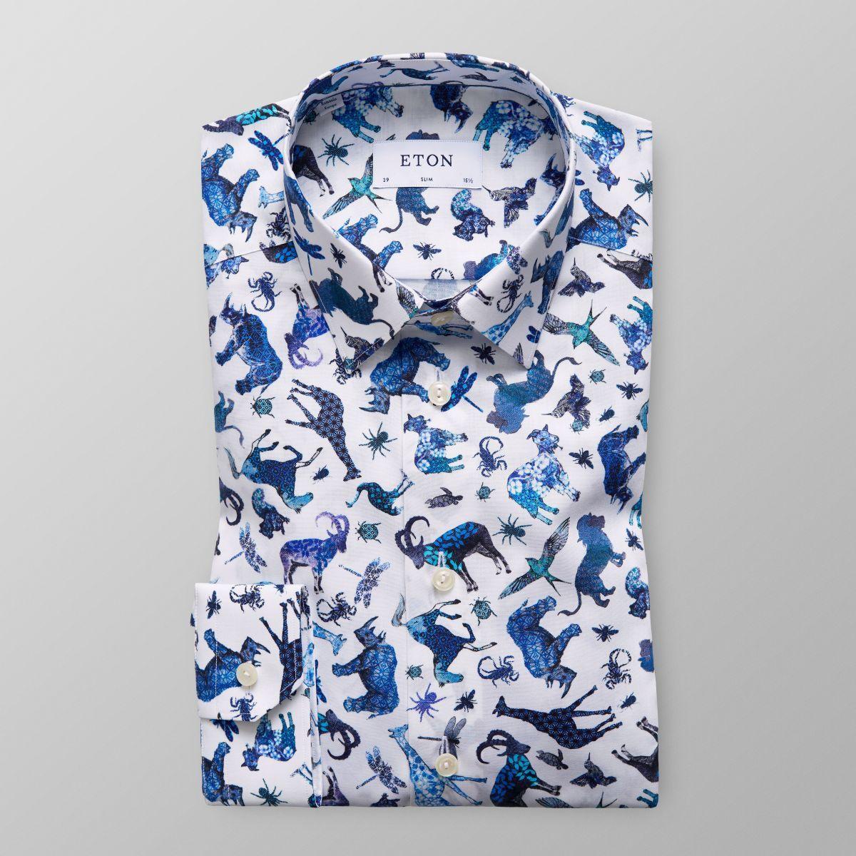 Animal Print Shirt Slim Fit Eton Shirts Us Printed In Andrew Smith Floral Navy Xxl