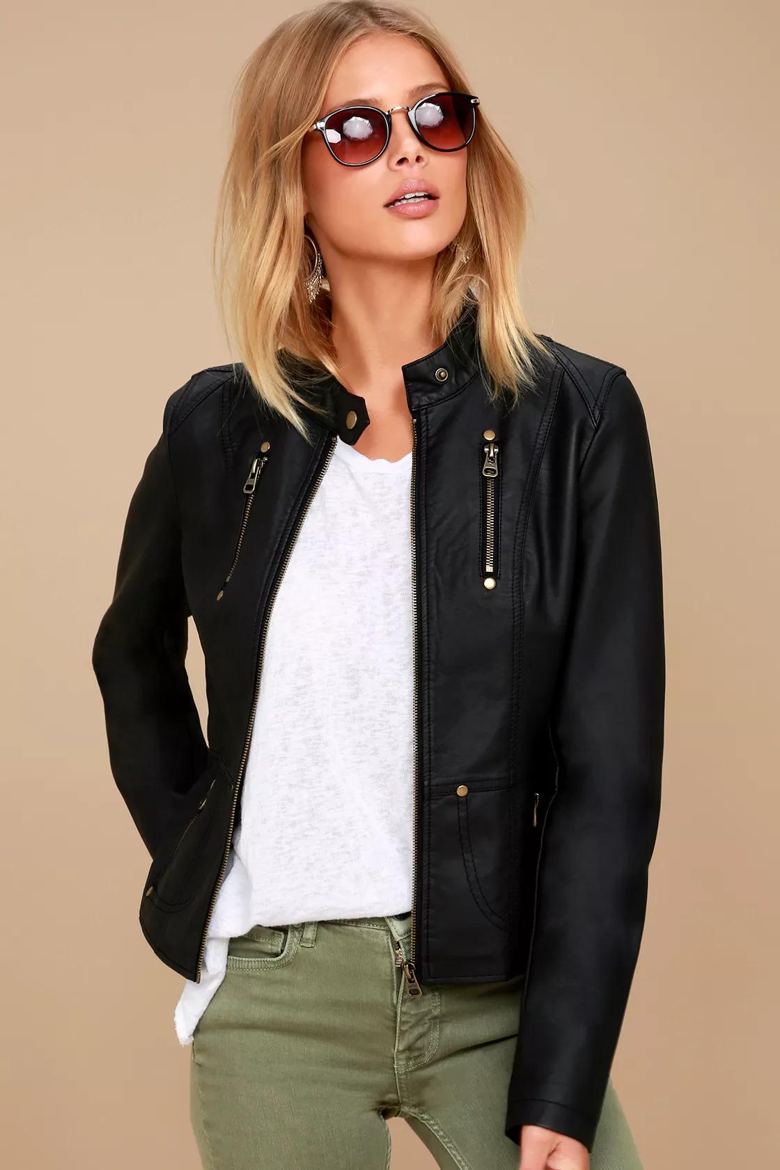 Peace of Mind Black Vegan Leather Moto Jacket Black