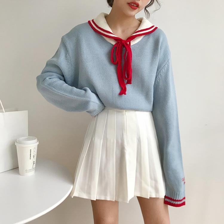 6fc33e74a5bcb Japanese cute sailor collar sweater yv40716 in 2018