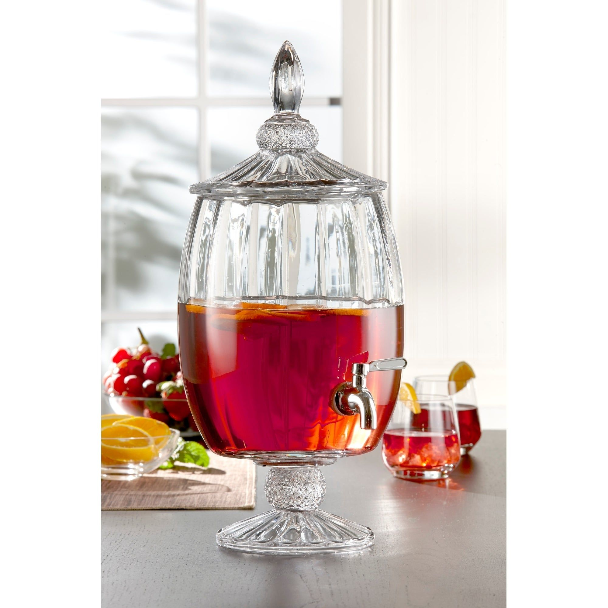Fifth Avenue Madison Optic Glass Beverage Dispenser Cold Drink Wine Juice Great For Parties Entertainm Glass Beverage Dispenser Wine Dispenser Drink Dispenser