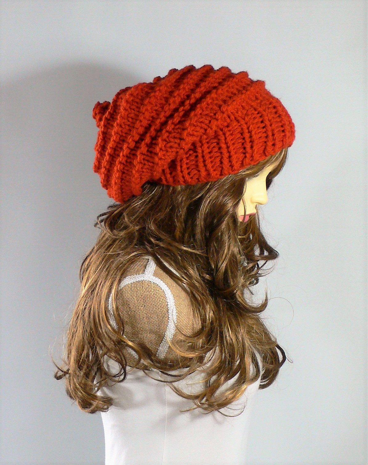 c908fd515e8 Hndmade hats by Rocking Pony in my  etsy shop  Knit Hat Women Orange Knit