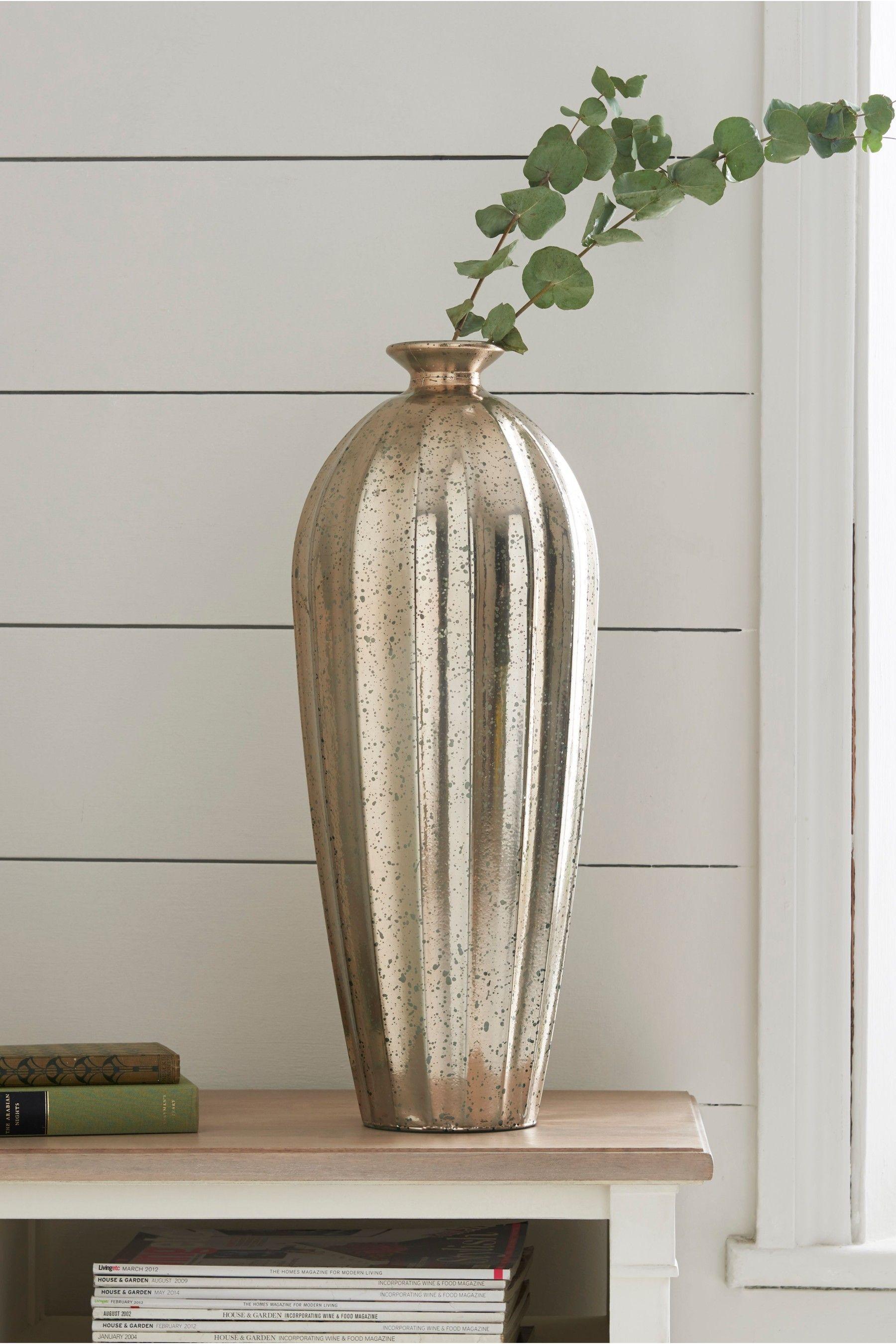 Next Tall Glass Mercury Vase Silver In 2020 Mercury Vases