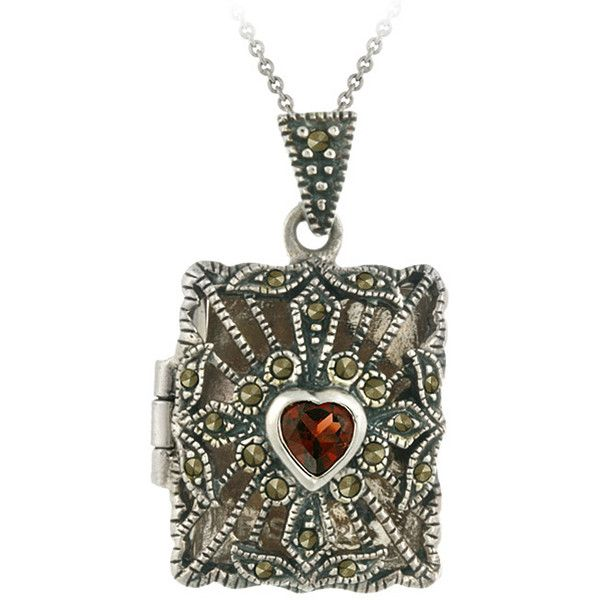 Glitzy Rocks Sterling Silver Garnet and Marcasite Rectangular Locket... ($30) ❤ liked on Polyvore featuring jewelry, necklaces, jewelry necklaces, heart necklace, pendants & necklaces, vintage garnet necklace, heart locket and vintage heart locket