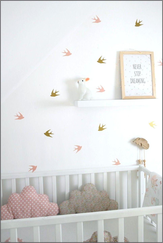 Deco Chambre Bebe Rose Poudre Et Dore en 9  Sticker chambre