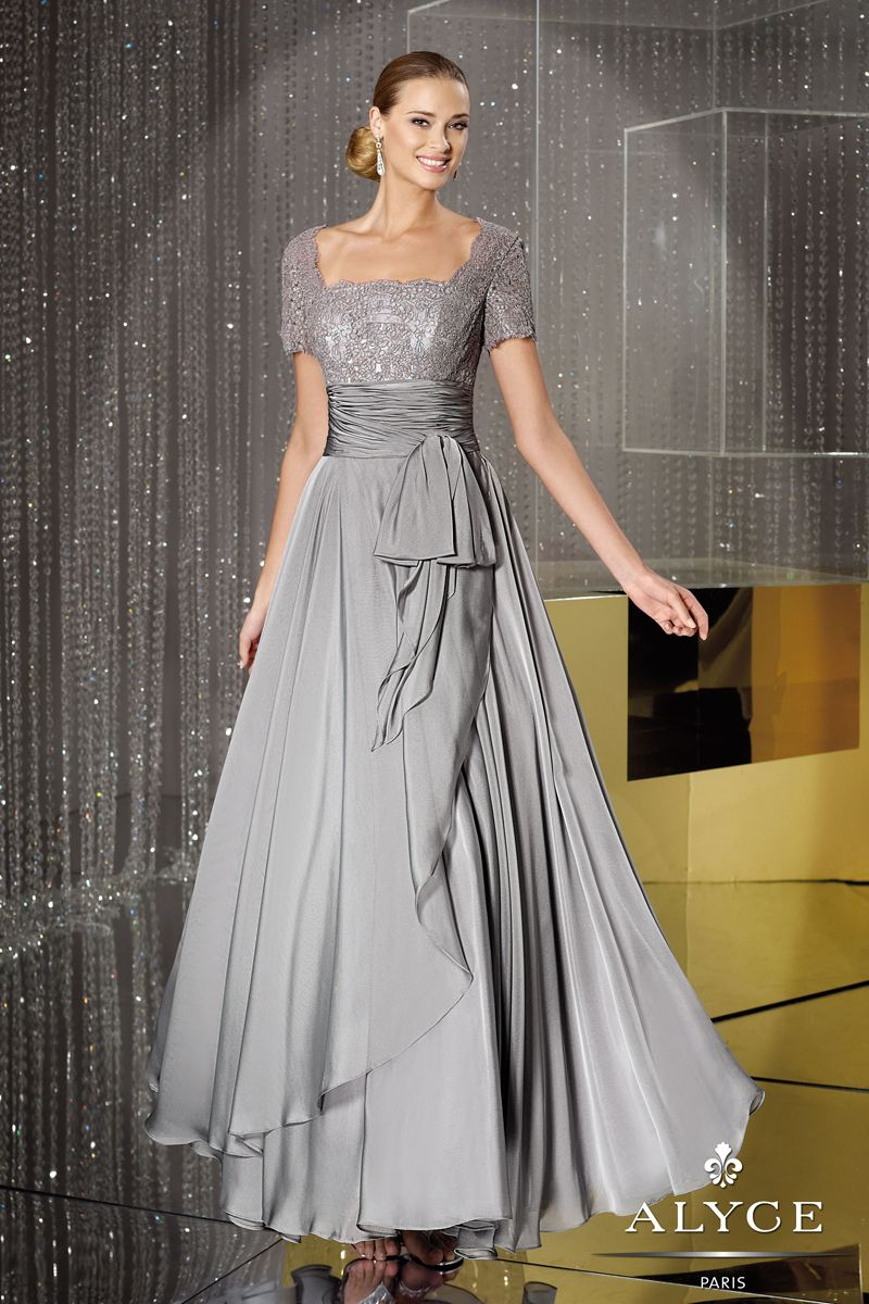 Conservative Iridescent Chiffon Evening Gown with Lace Sleeves ...