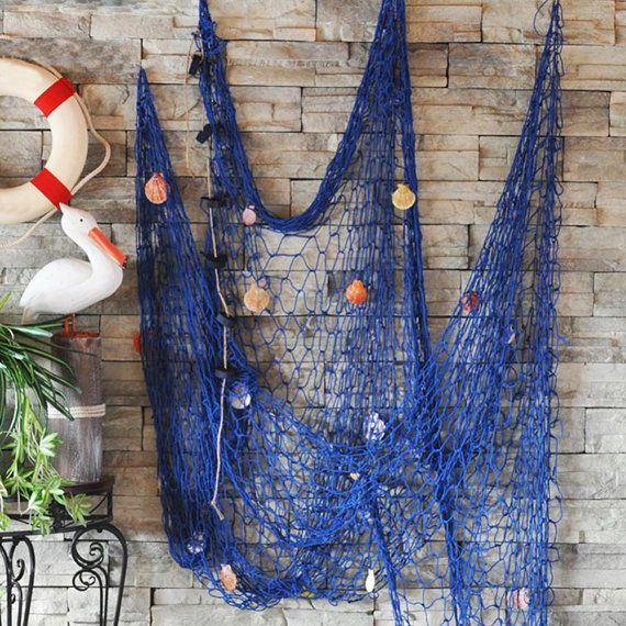 Nautical fishing net seaside hanging wall beach party sea for Fish net decoration ideas